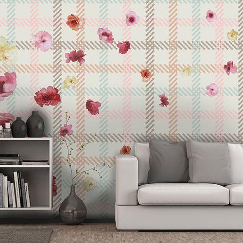 Vintage wallpaper / vinyl / floral / geometric CAMELIAS Neodko