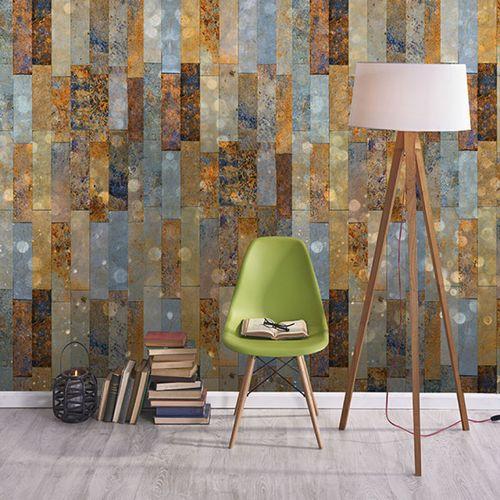 vintage wallpaper / vinyl / geometric / faience print