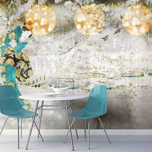 Original design wallpaper / vinyl / floral / nature pattern LET IS SNOW Neodko