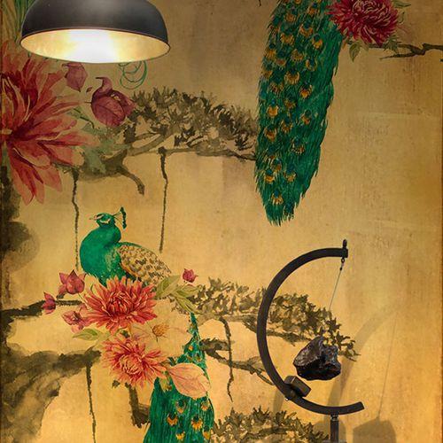 Contemporary wallpaper / vinyl / floral motif / nature pattern PARADISE GOLD PEACOCKS Neodko