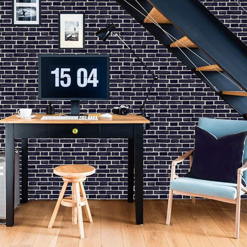 Contemporary wallpaper / vinyl / geometric / urban motif BLACK LONDON BRICKS Neodko