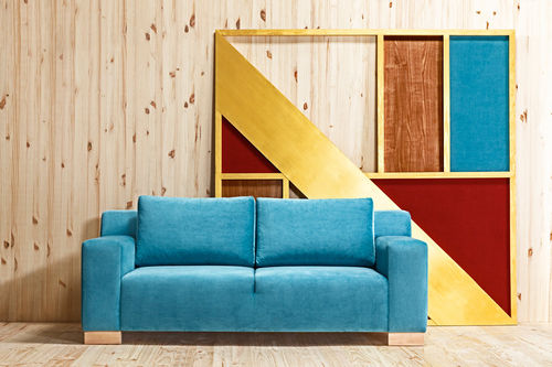 contemporary sofa / fabric / 2-person / blue