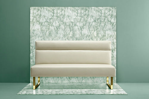 contemporary upholstered bench / leather / steel / with backrest