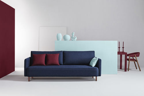 contemporary sofa / fabric / 3-seater / blue
