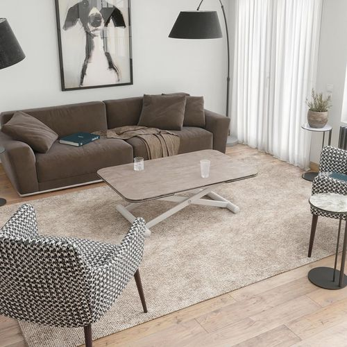 contemporary coffee table / lacquered steel / rectangular / extending