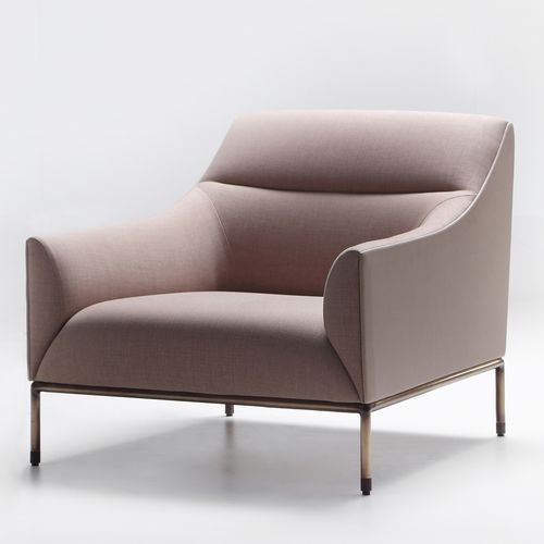 contemporary armchair / fabric / brown / beige