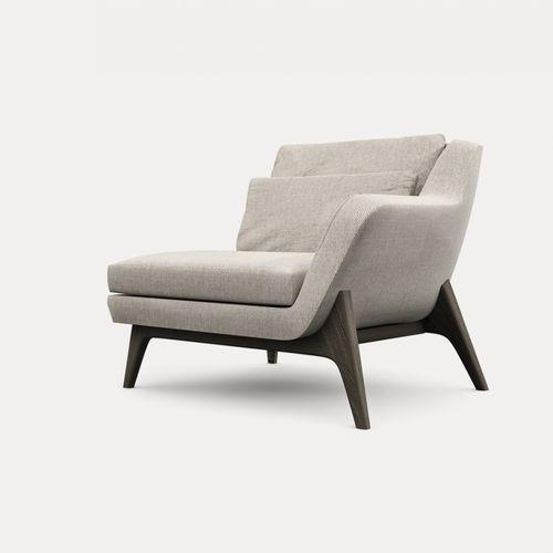 contemporary armchair / fabric / corner / gray