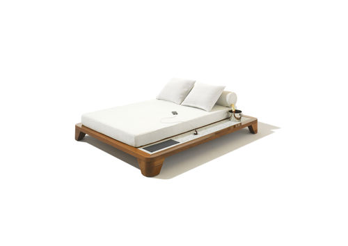 Contemporary day-bed / mahogany / outdoor / with smartphone and tablet charger BELVEDERE  With Smartphone Solar Charger Seora