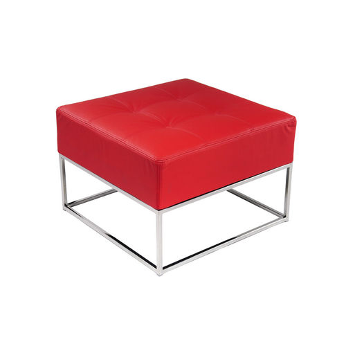 contemporary pouf / leather / stainless steel / square