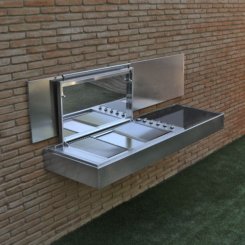 gas barbecue / wall-mounted / stainless steel / granite