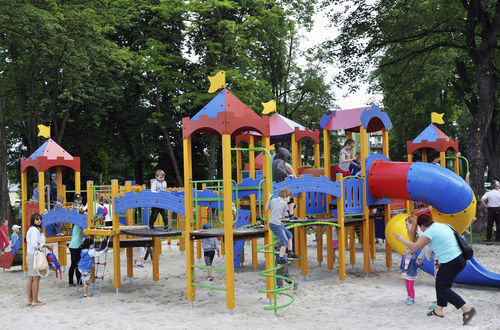 wooden play structure / for playgrounds