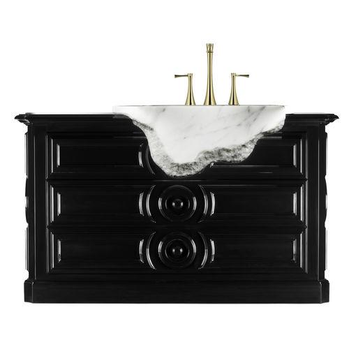 free-standing washbasin cabinet / wooden / marble / original design