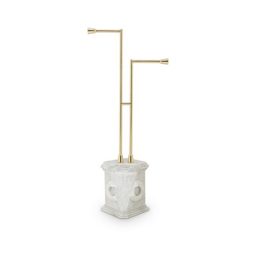 2-bar towel rack / floor-standing / brass / marble