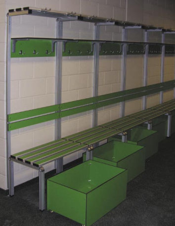 locker room bench / contemporary / HPL / with backrest