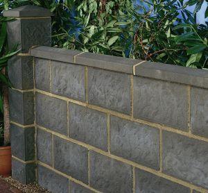 Solid Concrete Block / For Garden Enclosures / For Walls / Stone Look. ROCK  FACED Thakeham