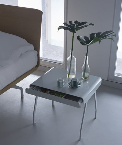 contemporary bedside table / steel / rectangular / commercial
