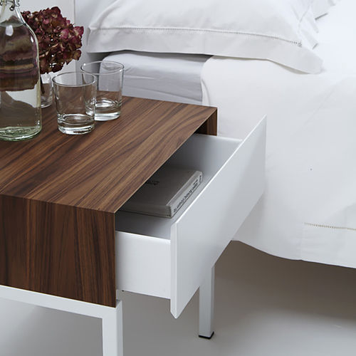 contemporary bedside table / wooden / painted steel / rectangular