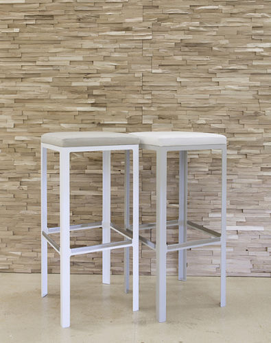 contemporary bar stool / metal / upholstered