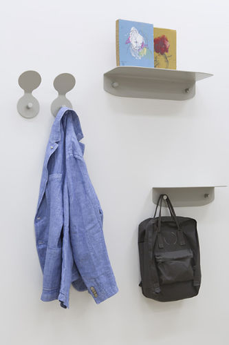 contemporary coat hook / metal / double