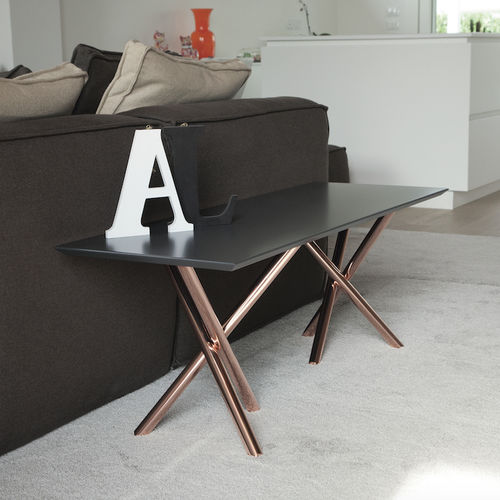 contemporary coffee table / tempered glass / aluminum / galvanized steel