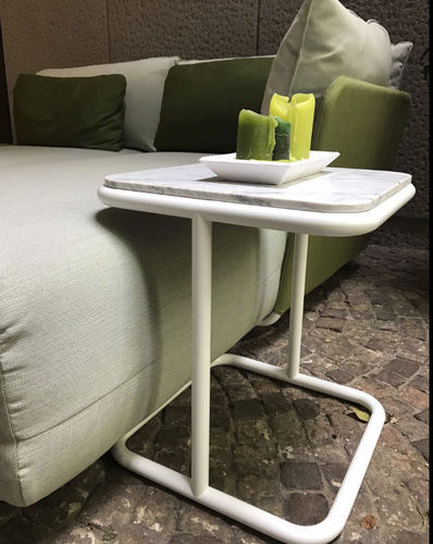 contemporary side table / aluminum / marble / square
