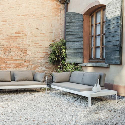 contemporary sofa / outdoor / aluminum / fabric