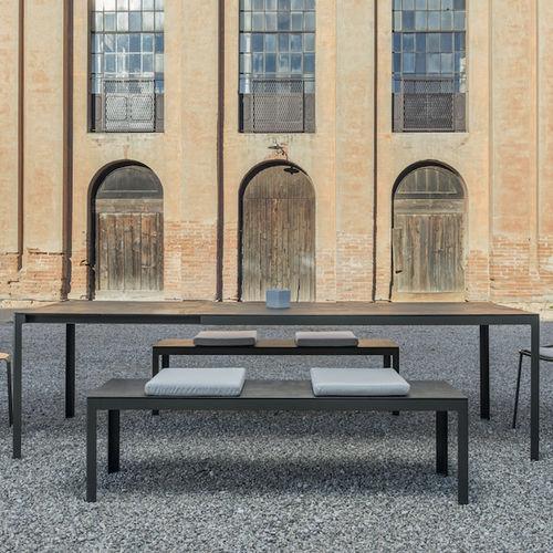 contemporary table / aluminum / lacquered steel / rectangular
