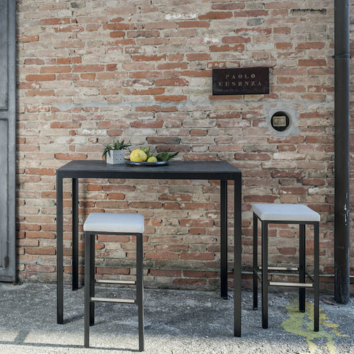 contemporary high bar table / aluminum / lacquered steel / rectangular