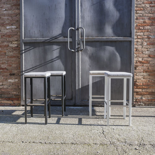 contemporary bar stool / aluminum / commercial / upholstered