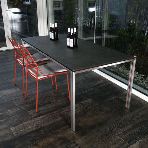 contemporary table / metal / rectangular / commercial