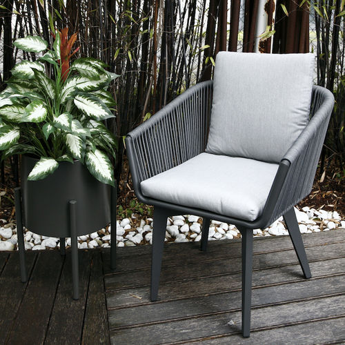 contemporary chair / upholstered / with armrests / fabric