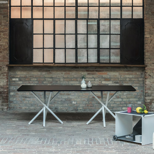 contemporary table / varnished aluminum / rectangular / outdoor
