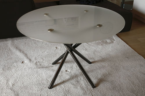 contemporary table / aluminum / round / commercial