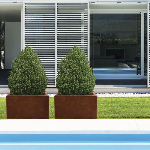 COR-TEN® steel planter / fiberglass / rectangular / contemporary