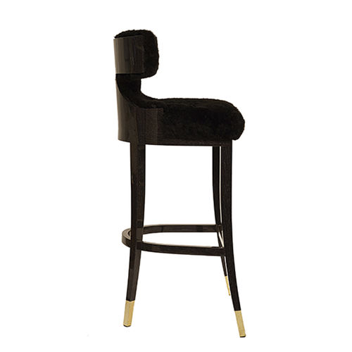 traditional bar stool / wooden / wool / upholstered