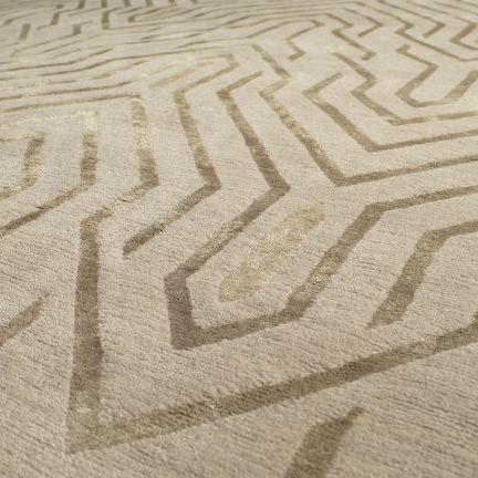contemporary rug / patterned / silk / Tibetan wool