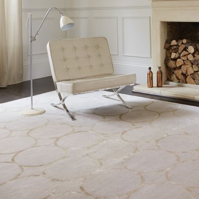 contemporary rug / geometric pattern / silk / Tibetan wool