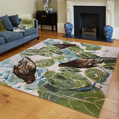 contemporary rug / nature pattern / silk / Tibetan wool