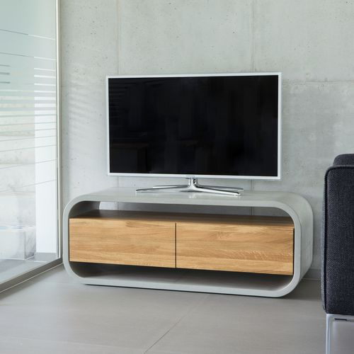 contemporary TV cabinet / lowboard / for hotel rooms / oak
