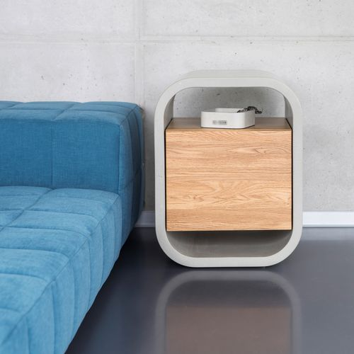 contemporary bedside table / oak / solid wood / concrete