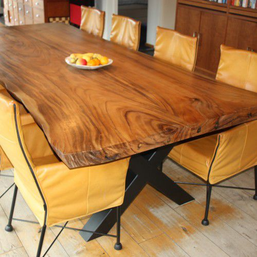 Contemporary Dining Table Solid Wood Rectangular Suar Indosign