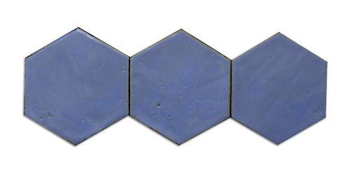 wall hexagonal tile / black / blue / handmade