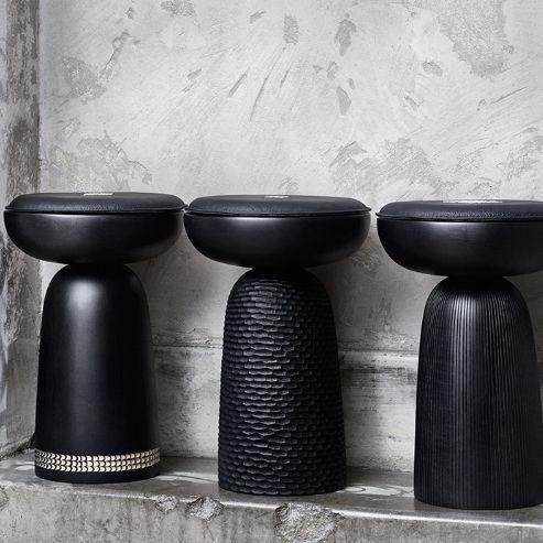 contemporary stool / solid wood / walnut / ash