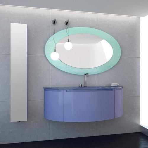 wall-hung washbasin cabinet / lacquered wood / contemporary / kit