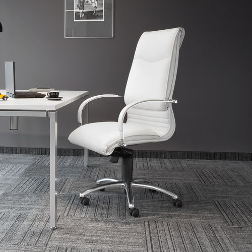 contemporary executive chair / aluminum / leather / on casters