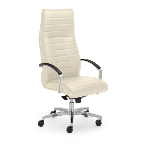 contemporary executive chair / leather / fabric / on casters