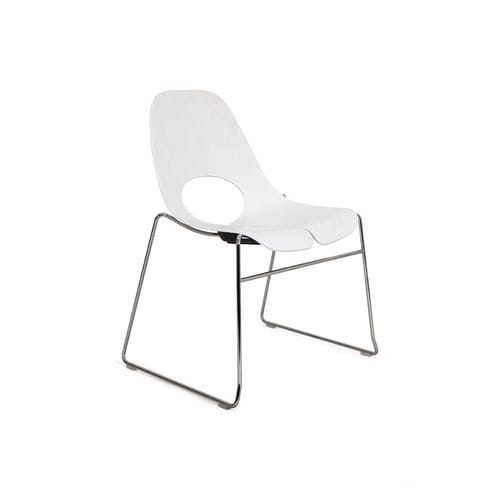 contemporary restaurant chair / sled base / wooden / steel