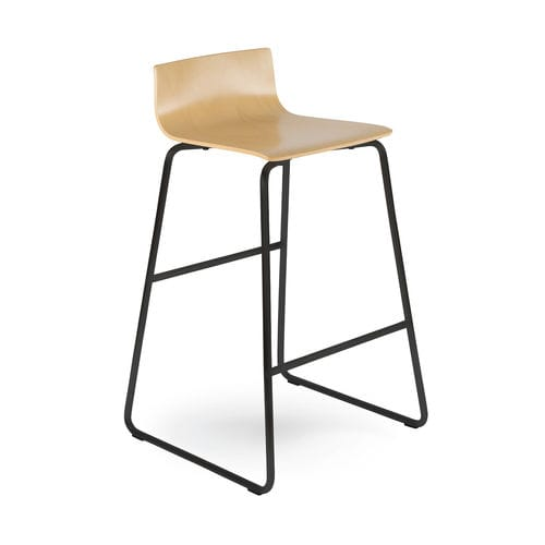 contemporary bar chair / with footrest / plywood / steel