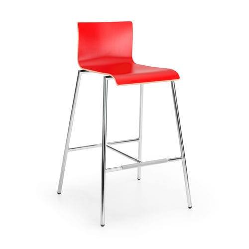 contemporary bar chair / with footrest / steel / beech