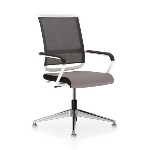 contemporary conference chair / upholstered / with armrests / stackable